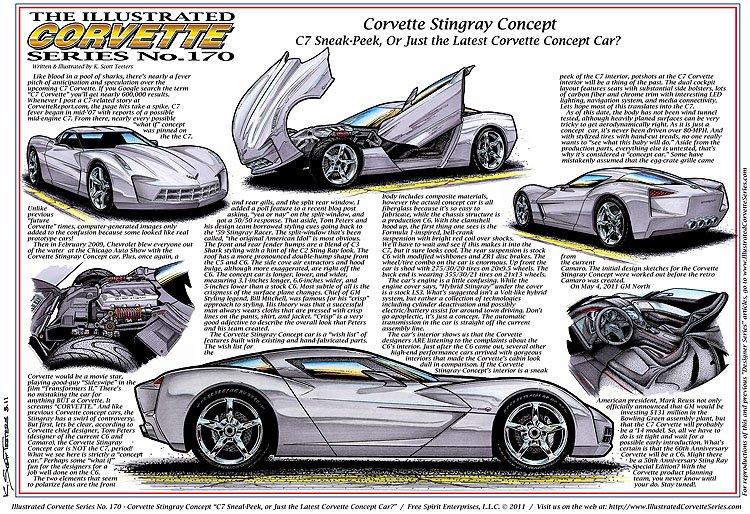 Corvette Stingray Concept Laser Color Print Illustrated Series No. 170