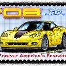 2008 ZHZ Hertz Fun Club Corvette Postage Stamp Art Print