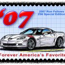 2007 Ron Fellows Special Edition Z06 Corvette Postage Stamp Art Print