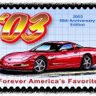 2003 50th Anniversary Edition Corvette Postage Stamp Art Print