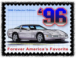 1996 Collector Edition Corvette Postage Stamp Art Print