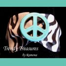 Peace Sign Ribbon Bracelet, Turquoise on Black & White, Love Style, Ramona Beasley