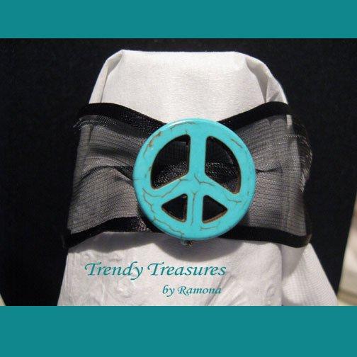 Peace Sign Ribbon Bracelet, Turquoise on Sheer Black, Love Style, Ramona Beasley