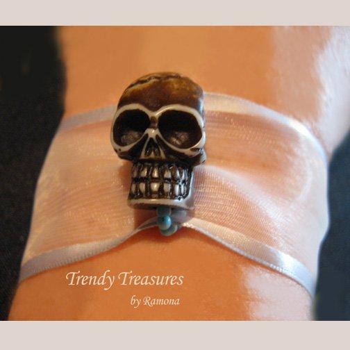 Skull Ribbon Bracelet, Brown on Sheer White,Goth Biker Style, Ramona Beasley