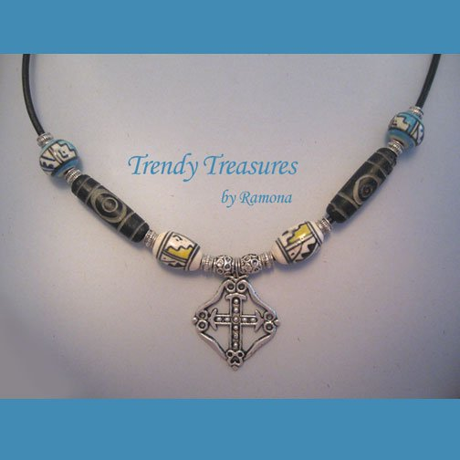 Celtic Cross, Corded Necklace, Ceramic Beads, ATB's, Ramona Beasley