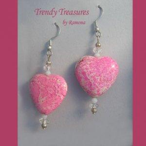 Bright Pink Heart Earrings, Pink Turquoise, Original Design, Ramona Beasley