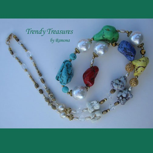 Reduced! Chunky Necklace,Multi-Color,Giant Pearls,Crystals,Artisan Crafted, Ramona Beasley