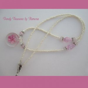 Pink Flower Glass Pendant on Beaded Necklace, Crystals, OOAK