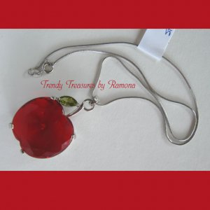 Faceted Crystal Apple Pendant,Teacher,Sterling Silver Chain, Peridot