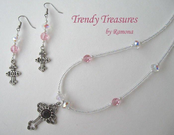 Vintage Cross Pendant Necklace, Pink Rhinestones, Matching Earrings, Set