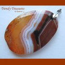 Red Onyx Agate Pendant,Polished Gemstone, Make Necklace, Texas