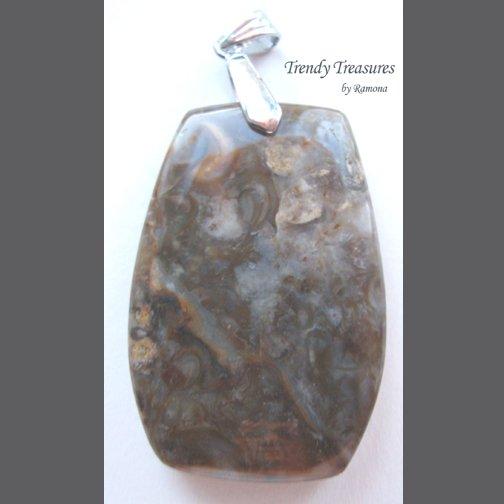 Fossil Turtella Shell Agate Pendant, Polished Gemstone, Make Necklace, Texas