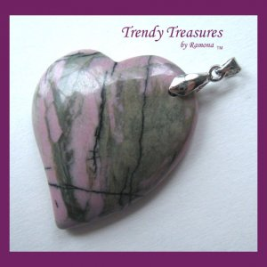 Rhodonite Tilted Heart Pendant, Artisan Crafted, Make Necklace, Texas