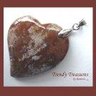Ocean Jasper Tilted Heart Pendant, Artisan Crafted, Make Necklace, Texas