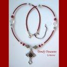 Vintage Cross Pendant Necklace, Red Rhinestones, Original Design, Ramona Beasley