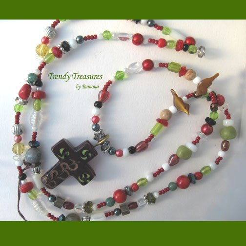 Extra-long Beaded Necklace,Red Color,Crystals,Artisan Crafted, Ramona Beasley