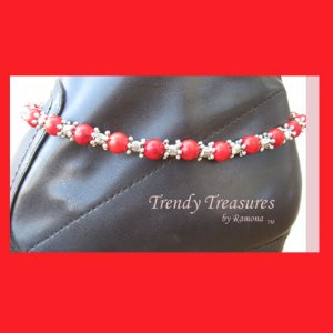 Boot Bling Boot Bracelet Artisan Red Gemstones Crystals Anklet Cowboy Cowgirl Jewelry