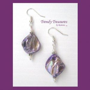 Purple Color Mother of Pearl Shell Earrings,Original Design,#TrendyTreasuresByRamona
