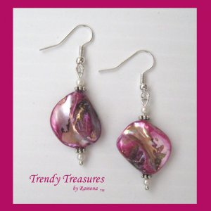Hot Pink Color Mother of Pearl Shell Earrings,Original Design,#TrendyTreasuresByRamona