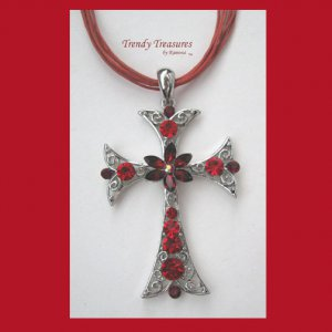 Red Rhinestone Cross Pendant Necklace, Red Rhinestones, Red Cords