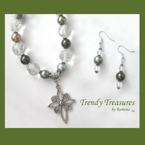 Silver Scroll Cross,Glass Pearls,Crystals Necklace,Free Earrings,#TrendyTreasuresByRamona