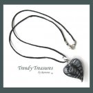 Black & White Swirl Glass Puffed Heart Pendant Necklace,#TrendyTreasuresByRamona