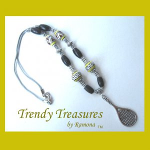 Tennis Racquet Pendant,Cord Necklace,Ceramic,Yellow,#TrendyTreasuresByRamona,