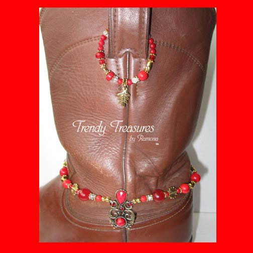 Red Vintage Style Boot Bling,Boot Bracelet & Earrings #TrendyTreasuresByRamona