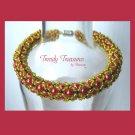 Hot Pink Crystal Pearl Woven Bracelet,Pearls,Crystals,#TrendyTreasuresByRamona