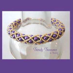 Purple & Gold Woven Spirit Bracelet,LSU Tigers, Pearls,Crystals,#TrendyTreasuresByRamona