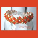 White Pearls & Tangerine Tango Crystals Woven Bracelet,Reduced,#TrendyTreasuresByRamona