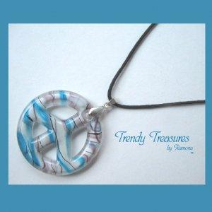 Peace Sign Lampwork Glass Pendant Necklace,Artisan Crafted,Ramona Beasley