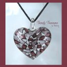 Puffy Heart Glass Pendant on Corded Necklace,#TrendyTreasuresByRamona
