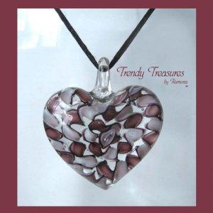 Puffy Heart Glass Pendant on Corded Necklace,#TrendyTreasuresByRamona