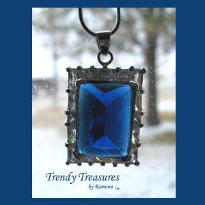 Deep Blue Faceted Crystal Pendant,Prom,Sterling Silver Chain, Rhinestones,#TrendyTreasuresByRamona