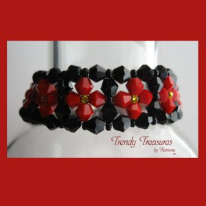 Black/Red Opaque Crystals Woven Bracelet,Mother's Day Special Price,#TrendyTreasuresByRamona