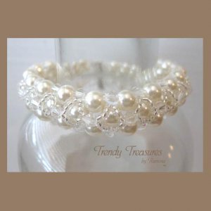 White Pearls & Clear Crystals Woven Bracelet, Mother's Day Special,#TrendyTreasuresByRamona