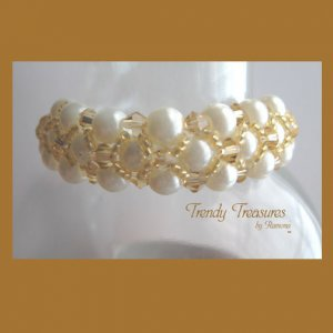 White Pearls Gold Crystals Woven Bracelet,Price Reduced,#TrendyTreasuresByRamona