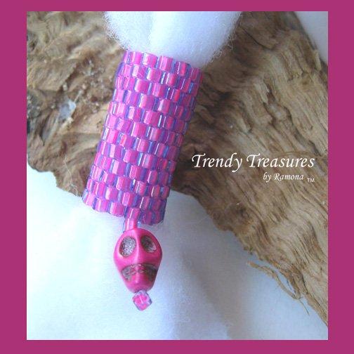 Hot Pink, Dreadlock Bead, Dread Sleeve, Skull Charm, #TrendyTreasuresByRamona