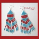 Turquoise,Bright Red,Beaded Dangle Earrings,Hand Woven, #TrendyTreasuresByRamona