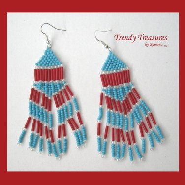 Turquoise,Bright Red,Beaded Dangle Earrings,Hand Woven, #TrendyTreasuresByRamona