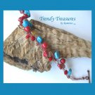 Crocheted Wire Bracelet, Turquoise, Coral, Copper, Artisan Crafted, Ramona Beasley