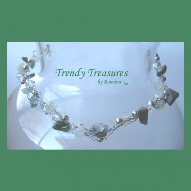 Green Gemstone & Clear Crystals,Crocheted Wire Necklace,#TrendyTreasuresByRamona