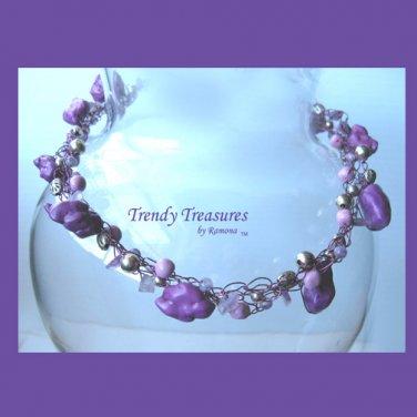 Purple Gemstones Purple Crocheted Wire Necklace,#TrendyTreasuresByRamona,