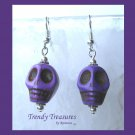 Bright Purple Skull Earrings, 3-D, Pirate, Goth, Biker #TrendyTreasuresByRamona,