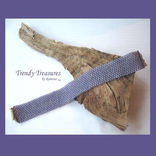 Pale Purple Iridescent Glass Woven Bracelet,Original Design,#TrendyTreasuresByRamona