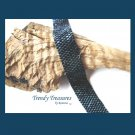 Navy Blue Iris Metallic Glass Woven Bracelet,Original Design,#TrendyTreasuresByRamona