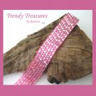 Hot Pink Iridescent Glass Woven Bracelet,Original Design,#TrendyTreasuresByRamona
