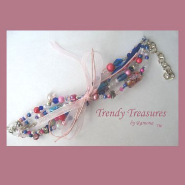 Pink, Blue and White Eclectic, Crystals, Pearls, Chains, Ribbons Bracelet,#TrendyTreasuresByRamona