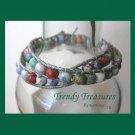 Pastel Variety Gemstone & Leather-like Wrap Bracelet, Pop Style, #TrendyTreasuresByRamona